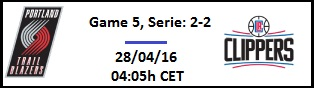 Apuesta #NBAPlayoffs - 1ª Ronda Portland Trail Blazers vs LA Clippers (Game 5)