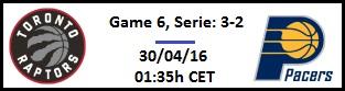 Apuesta #NBAPlayoffs - 1ª Ronda Toronto Raptors vs Indiana Pacers (G6)