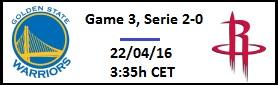 Apuesta #NBAPlayoffs - Primera ronda GS Warriors vs Houston Rockets (Game 3)