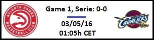 Apuesta #NBAPlayoffs - Semifinales de Conferencia - Atlanta Hawks vs Cleveland Cavaliers (Game 1)