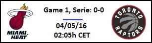Apuesta #NBAPlayoffs - Semifinales de Conferencia Miami Heat vs Toronto Raptors (G1)